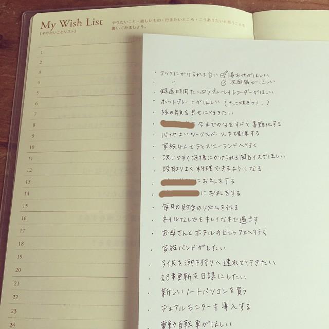 逆算手帳 wish list 書き方